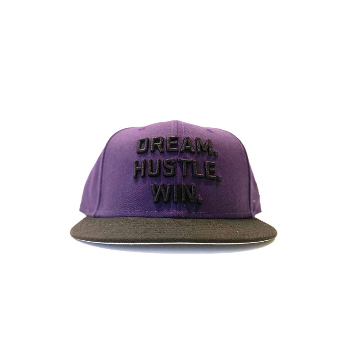 Image of 2520 X NEW ERA DREAM. HUSTLE. WIN. 9FIFTY SNAPBACK - PURPLE/BLACK
