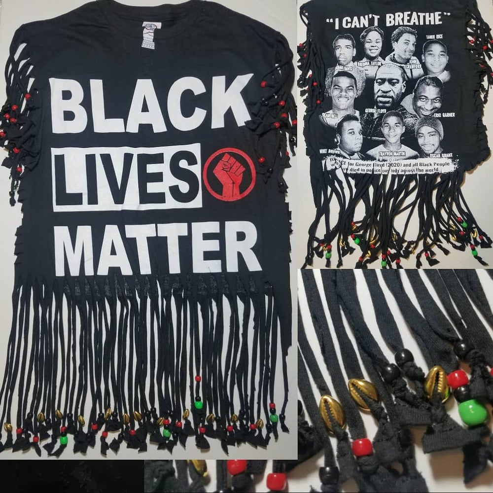 Image of Black Lives Matter Golden Beaded Cowrie Upcycled Statement T-Shirt