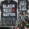 Black Lives Matter Golden Beaded Cowrie Upcycled Statement T-Shirt