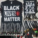 Image 4 of Black Lives Matter Golden Beaded Cowrie Upcycled Statement T-Shirt