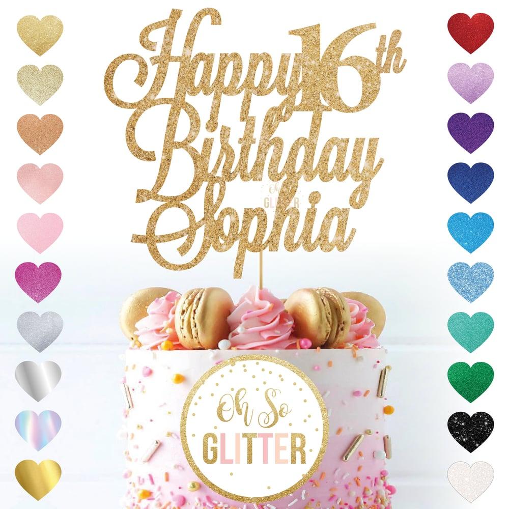 Image of Custom glitter cake topper - any name any age