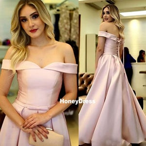 Image of Pretty Dusty Pink Off-The-Shoulder Satin A-Line Prom Dress Formal Gown With Lace-Up Back
