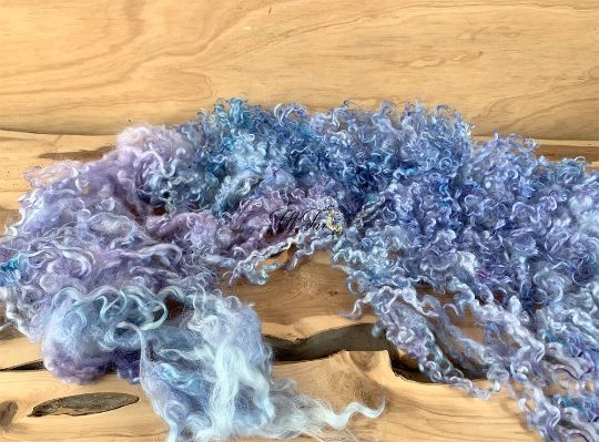 Image of Newborn Baby Photo Prop. Felted Garland Ribbon Piece. (SP17) Blue Lilac Curly Basket Filler, RTS