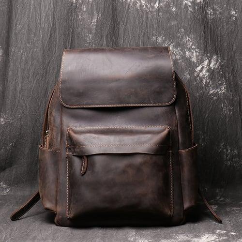 Image of Handmade Crazy Horse Leather Backpack Men Backpack NZ11