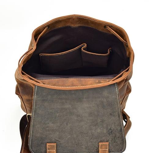 Image of Handmade Vintage Crazy Horse Leather Backpack Travel  Backpack LF240