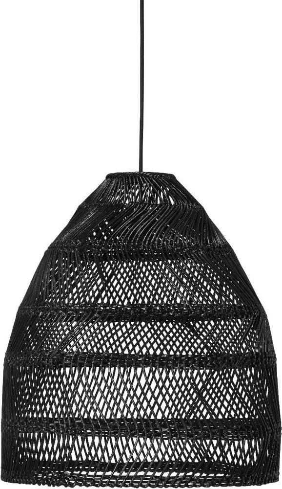 Image of BLACK LARGE RATTAN LAMPSHADE