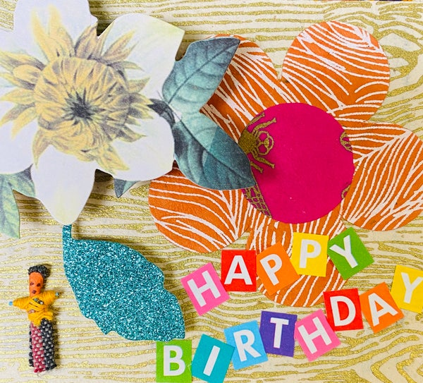 Image of Happy birthday glitter leaf