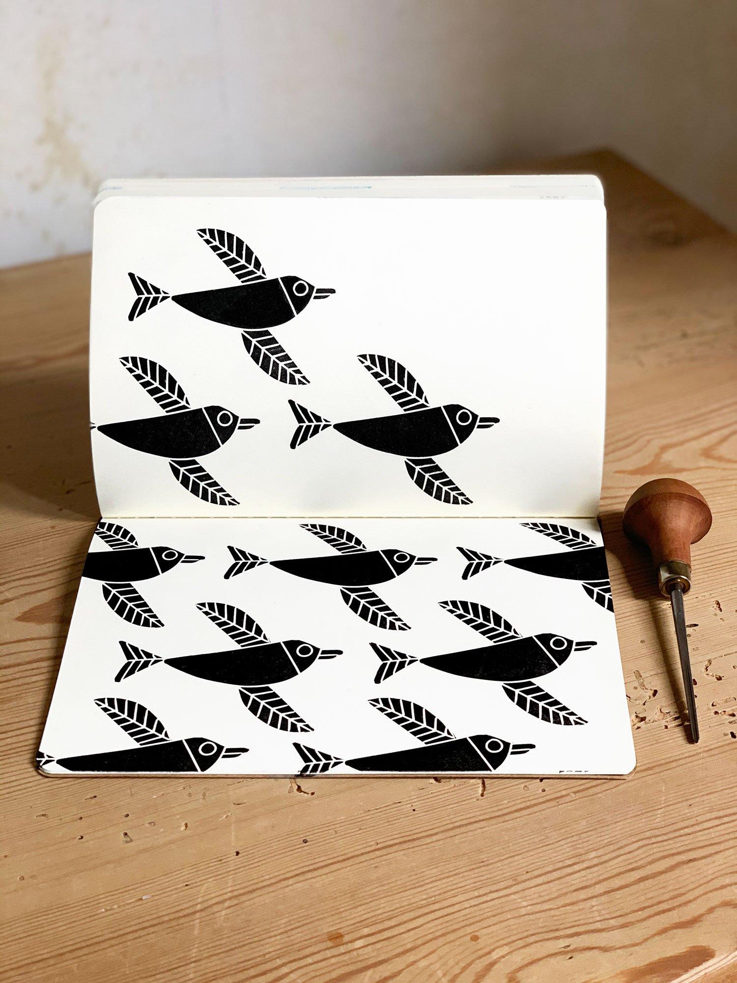 Image of Linoprinted Sketchbook Black Penguin