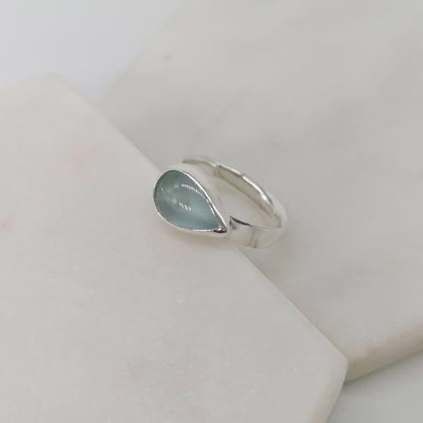 Image of Aquamarine Teardrop Ring