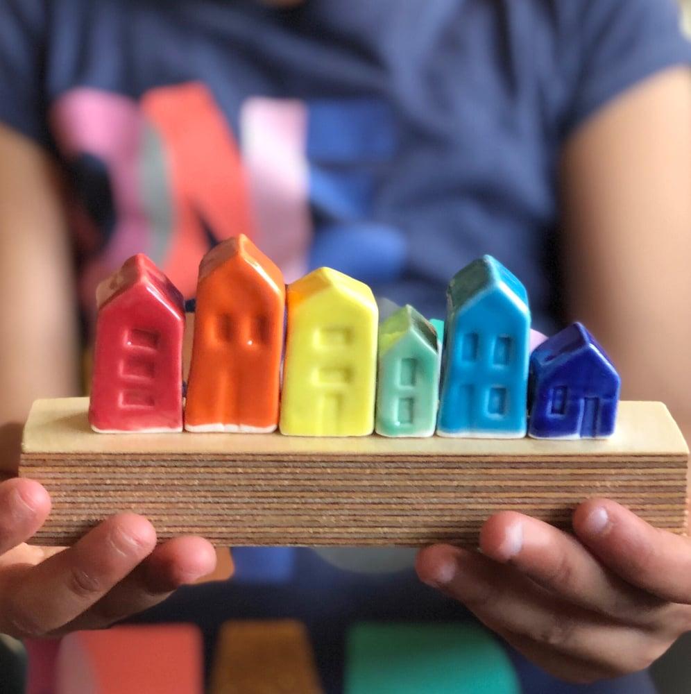 Image of Set of rainbow houses