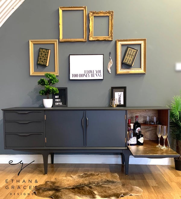 Image of Jentique teak sideboard in dark grey and gold leaf
