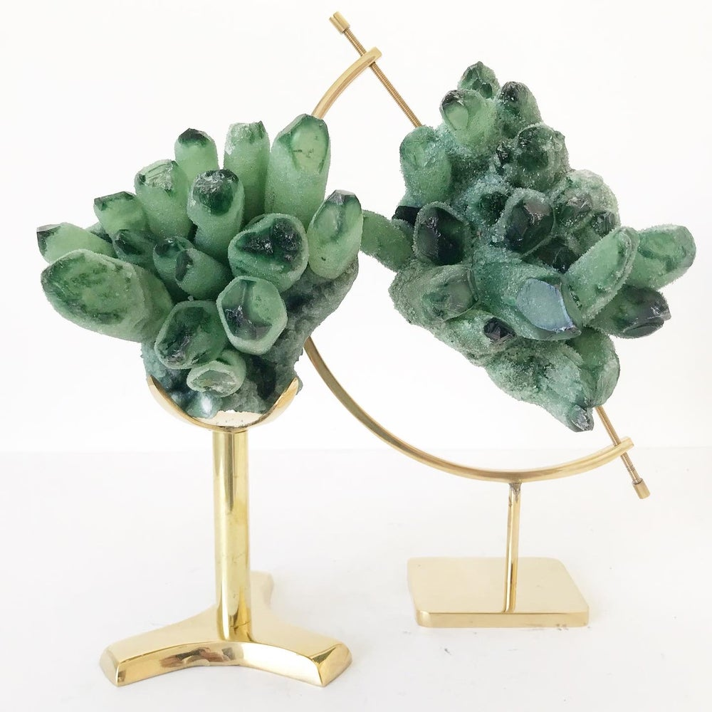 Image of Green Phantom Quartz no.15 + Brass Arc Stand