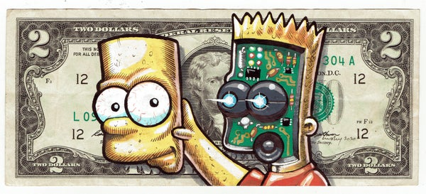 Image of Rare 2 Dollar Original. Face Off Bart.