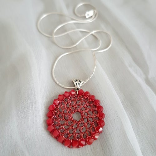 Image of DISC PENDANT - Matt Red Coral