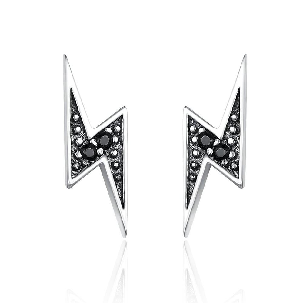 Lightning Bolt Earrings (925 Sterling Silver)