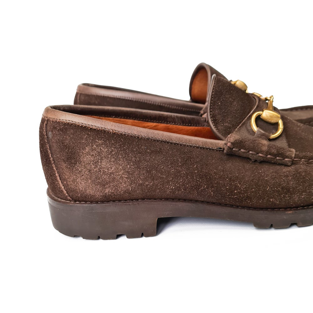 Image of Gucci Horsebit Suede Loafers
