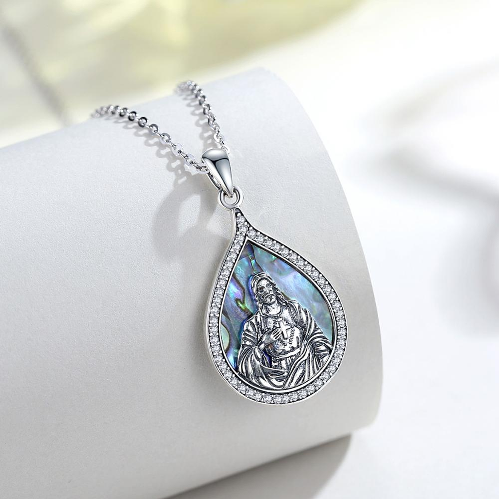 Religious Pendant Necklace (925 Sterling Silver) Mother of Pearl
