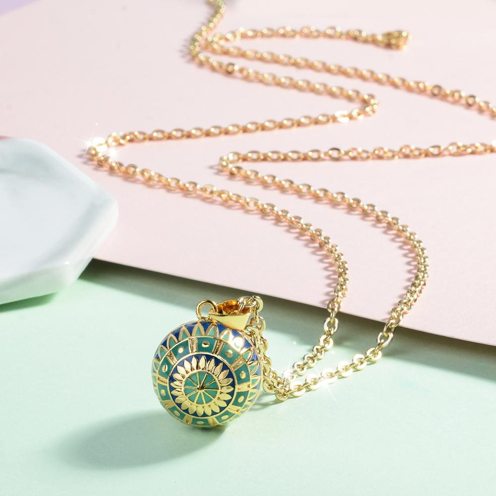 Green + Blue Flower Harmony Ball Necklace