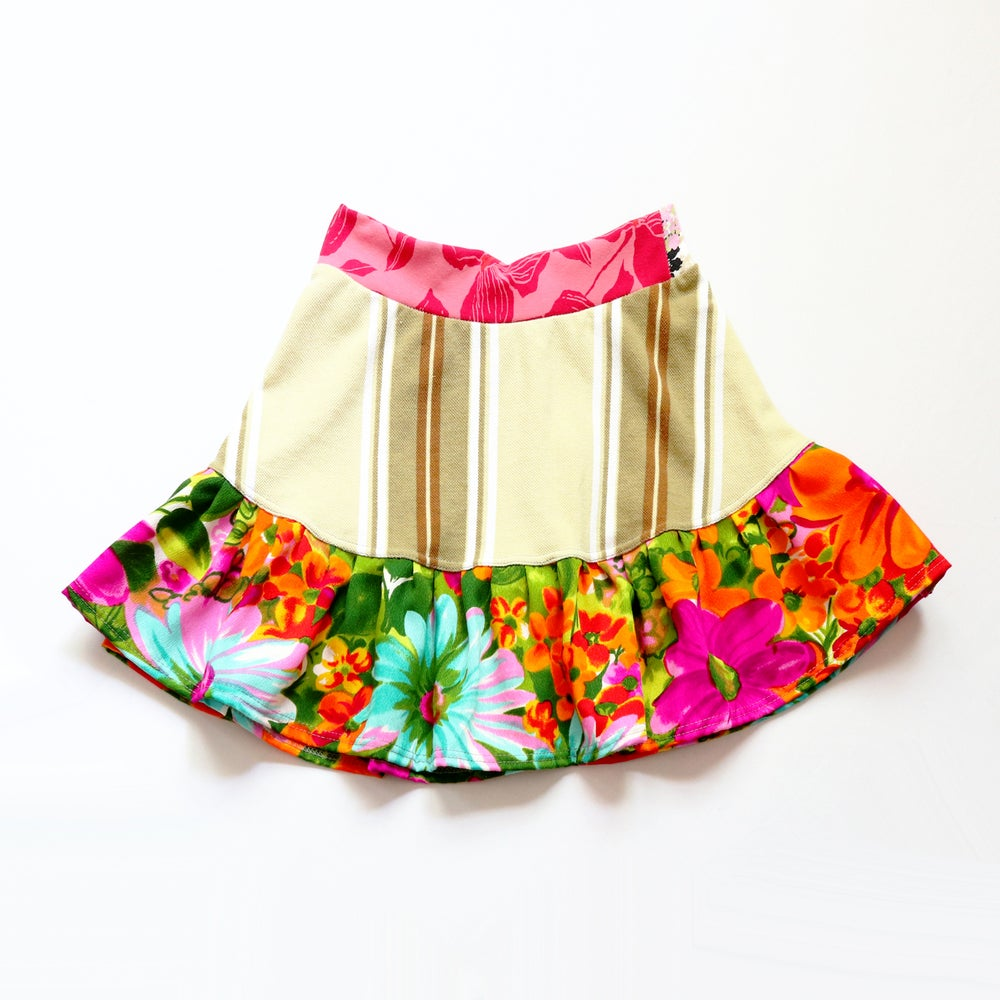 Image of gold stripe pink 12/14 floral multi happy colorful vintage fabric flouncy skirt courtneycourtney