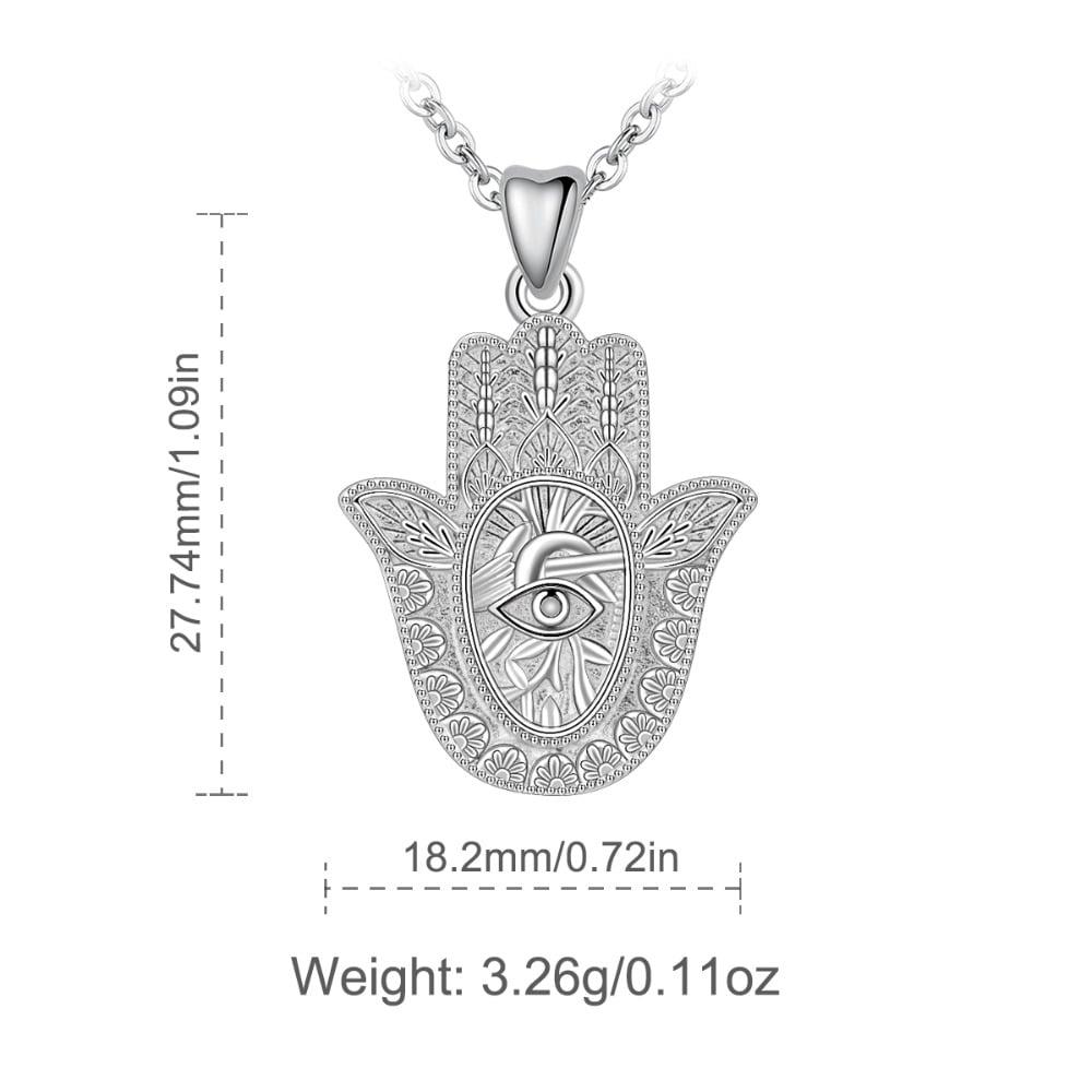 Hamsa Hand Necklace (925 Sterling Silver)