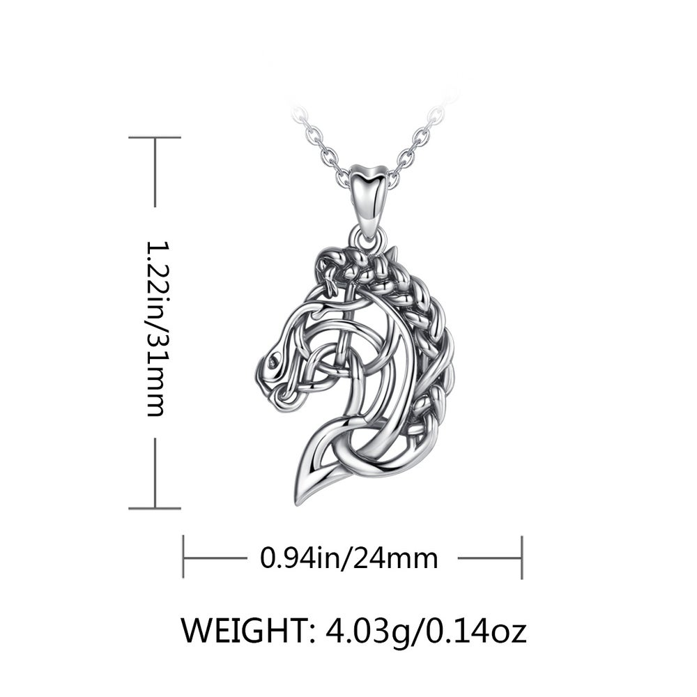 Celtic Knot Horse Necklace (925 Sterling Silver)