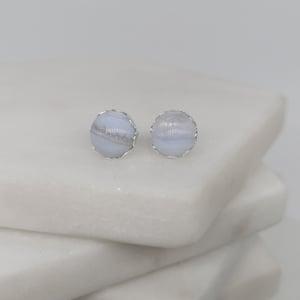 Image of Blue Lace Agate Petal Earrings