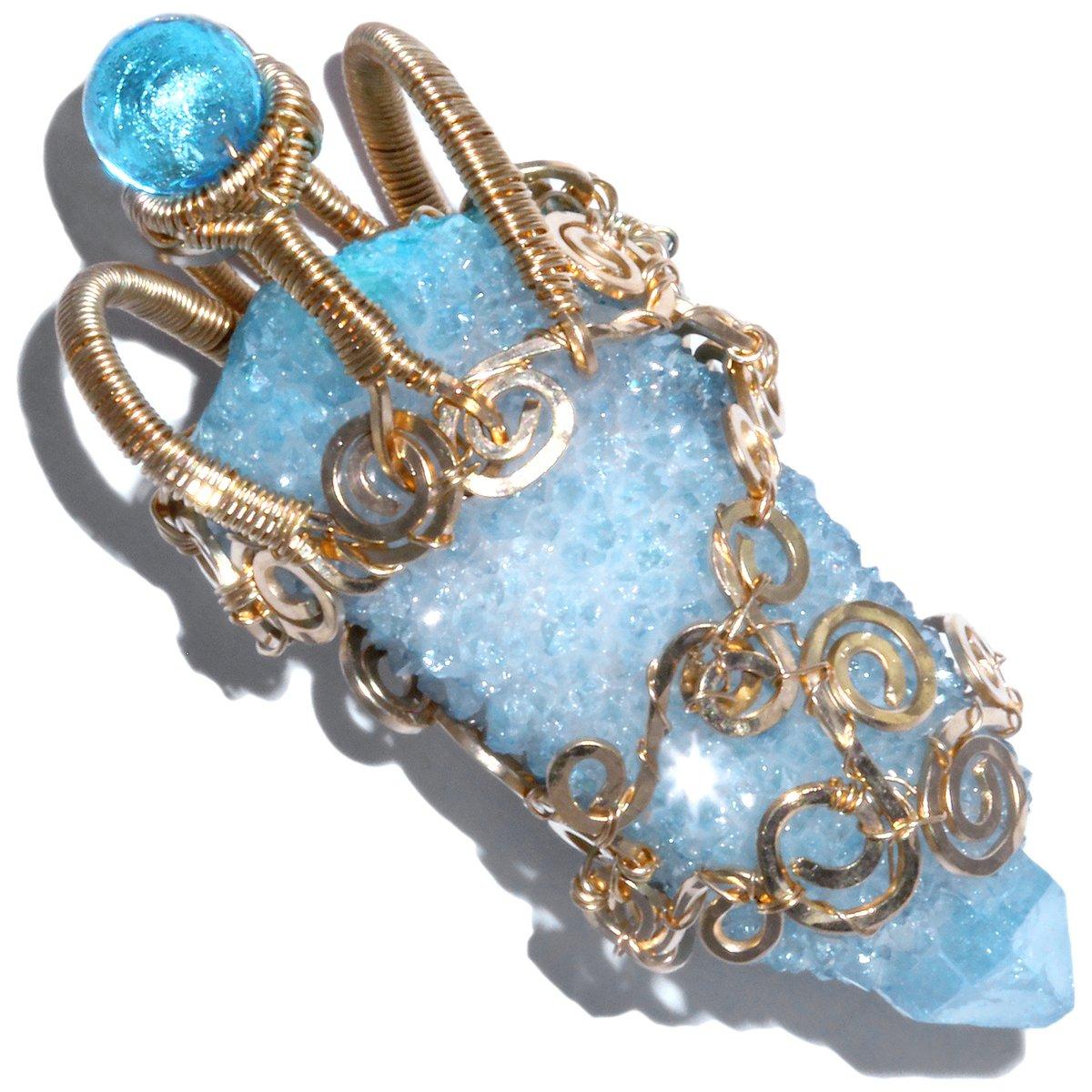 Aqua Aura Spirit Quartz Crystal 14K GF Handmade Filigree Pendant