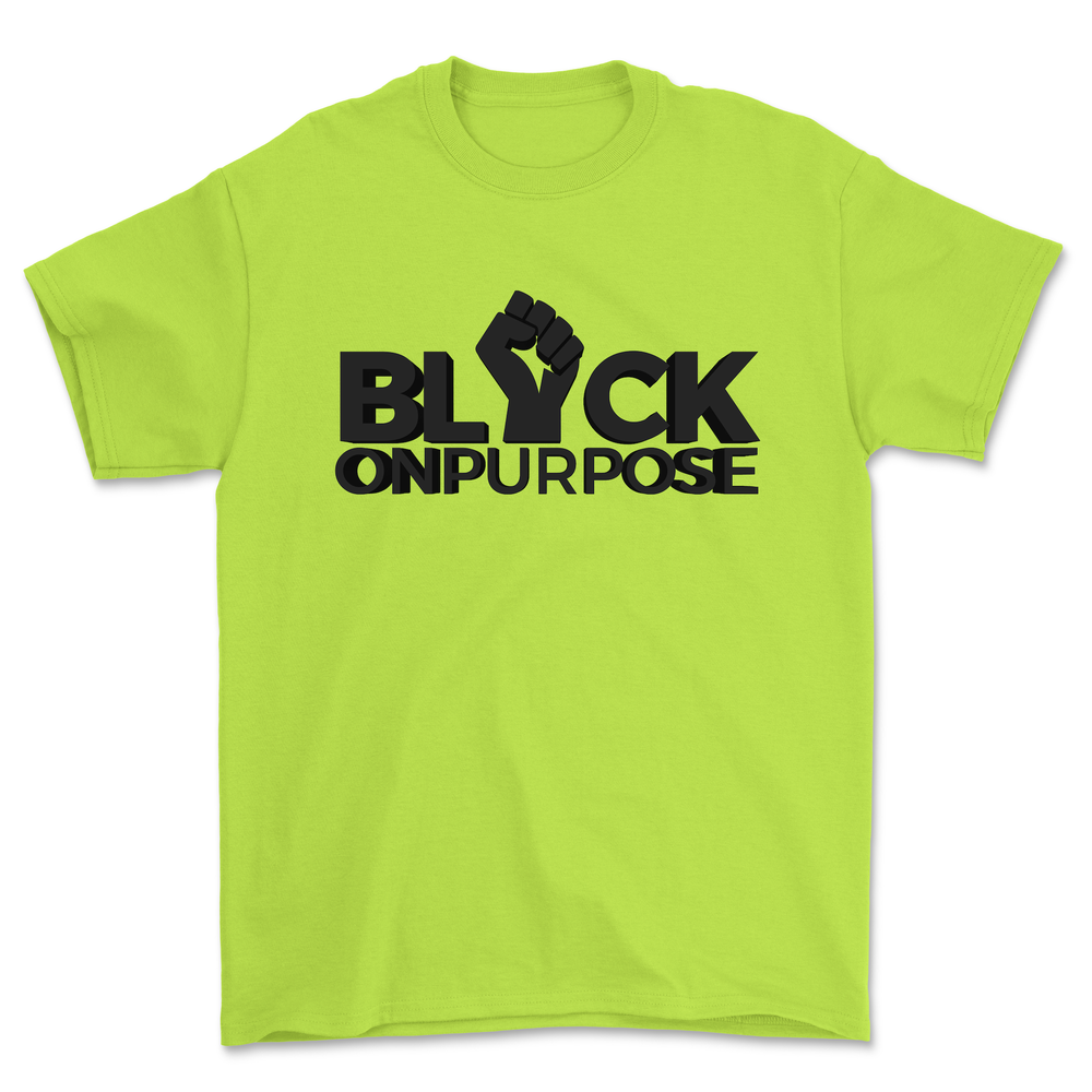 "Image of Adult Safety Green ""Black On Purpose"" Tee"