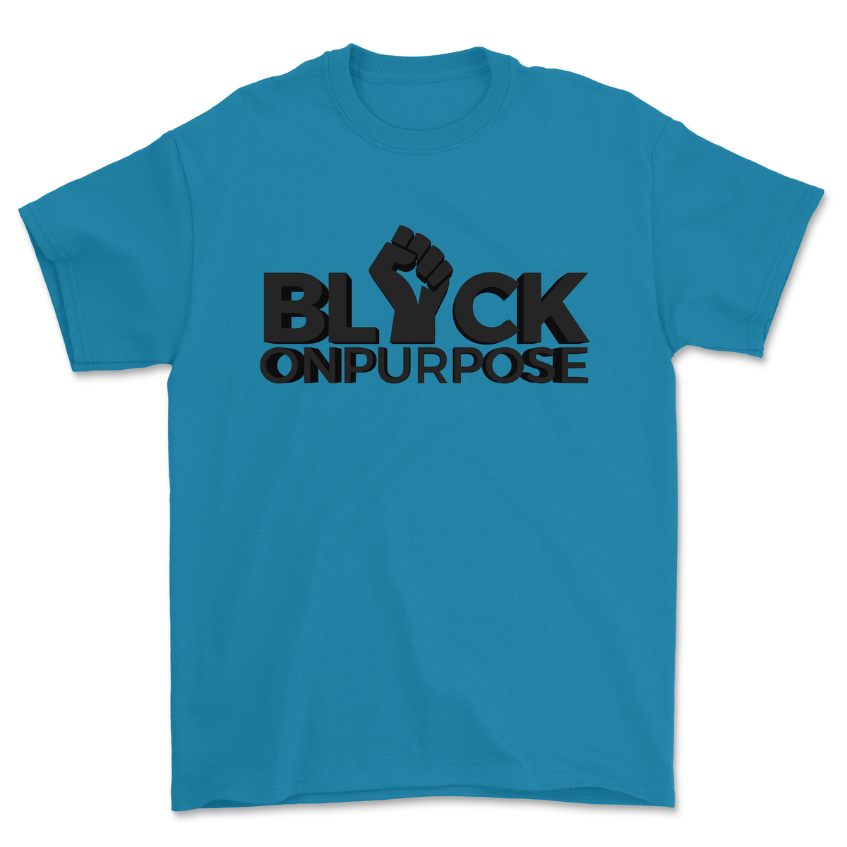 "Image of Adult Sapphire felt ""Black On Purpose"" Tee"