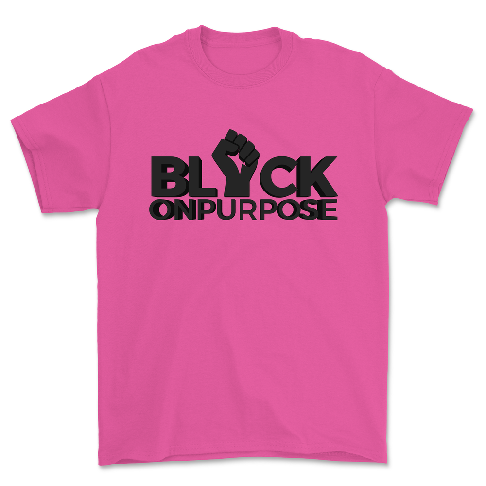 "Image of Adult Safety Pink felt ""Black On Purpose"" Tee"