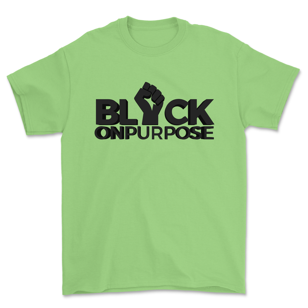 "Image of Adult Mint felt ""Black On Purpose"" Tee"