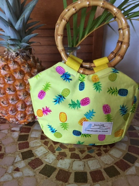 Keiki Bag Pineapple with Bamboo Handle