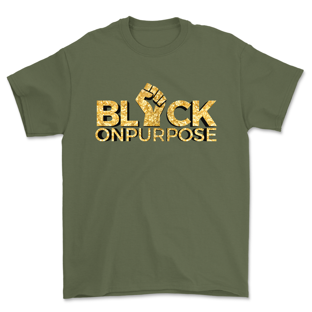"Image of Adult Military Green Gold ""Black On Purpose"" Tee"