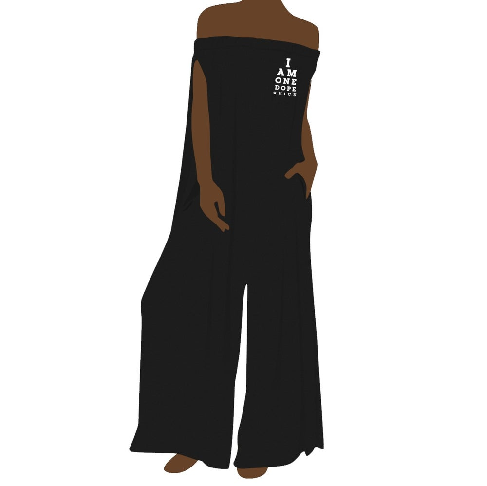 Image of I Am One Dope Chick BLK Off-Shoulder Jumpsuit