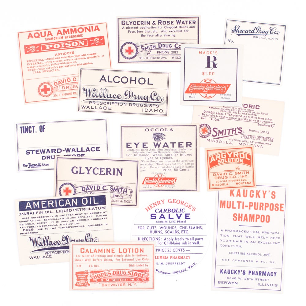 Image of Red, White, & Blue Pharmacy Labels, No. 1