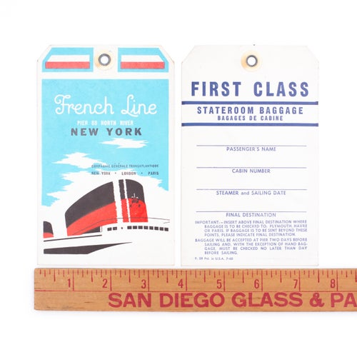 Image of French Line First Class Baggage Tag