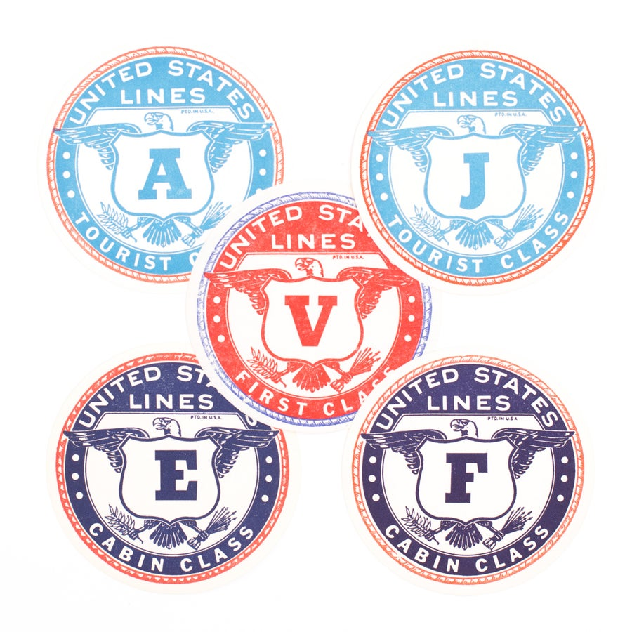 Image of United States Lines Luggage Labels - Set of 5