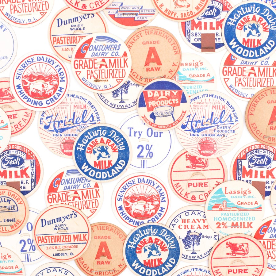 Image of Red, White, & Blue Milk Caps - Set of 12