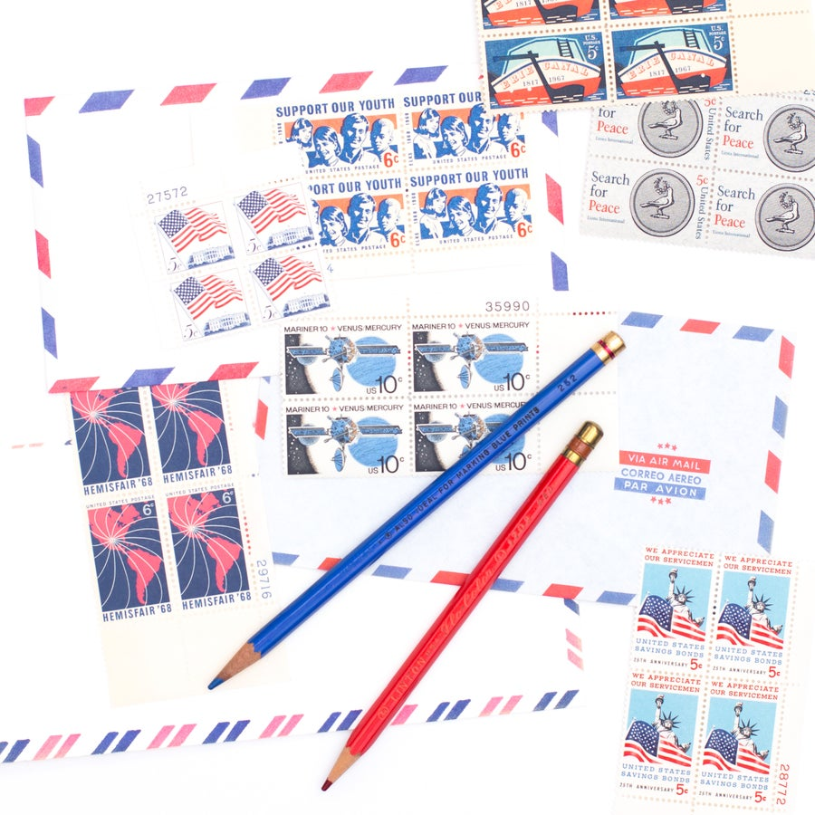 Image of Red, White, & Blue Postage Stamp Blocks - Set of 12