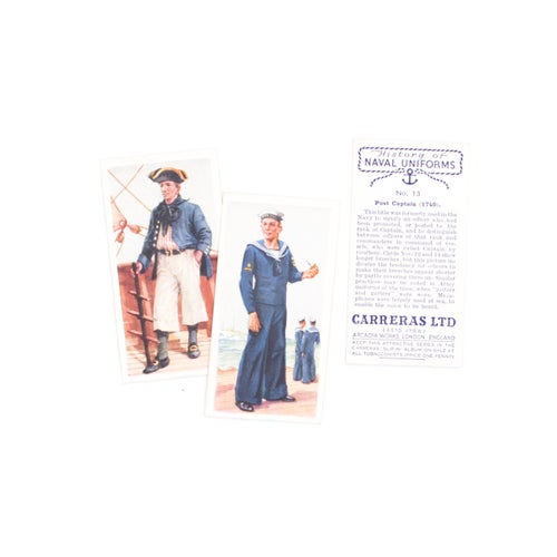 Image of History of Naval Uniforms Cigarette Cards - Set of 50