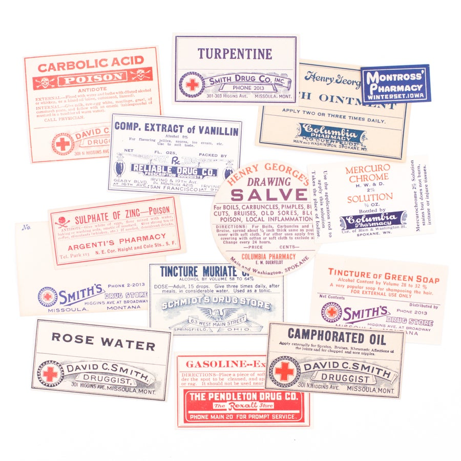 Image of Red, White, & Blue Pharmacy Labels, No. 2