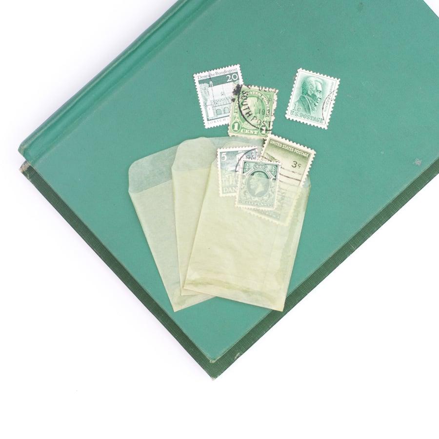 Image of Mini Green Glassine Envelopes - Set of 10