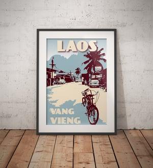 Image of Vintage poster Laos - Vang Vieng - Street - Blue - Fine Art Print
