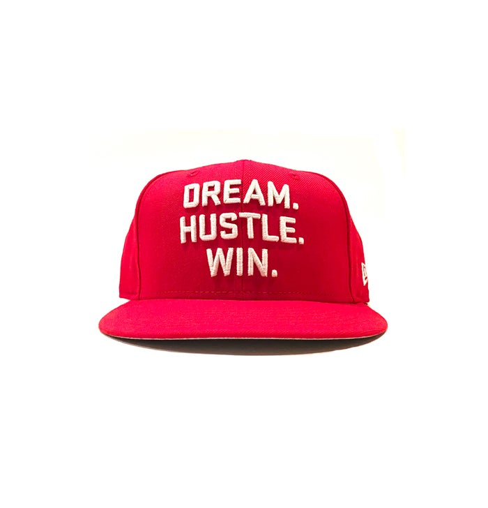Image of 2520 X NEW ERA DREAM. HUSTLE. WIN. 9FIFTY SNAPBACK - SCARLET