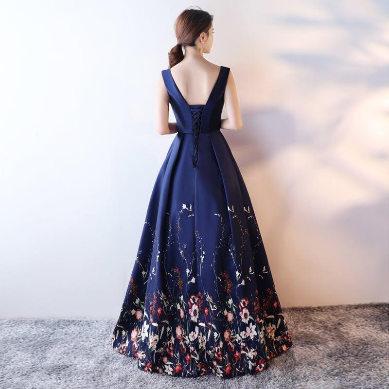 Navy Blue Long Satin Prom Dress, Floral Wedding Party Dress