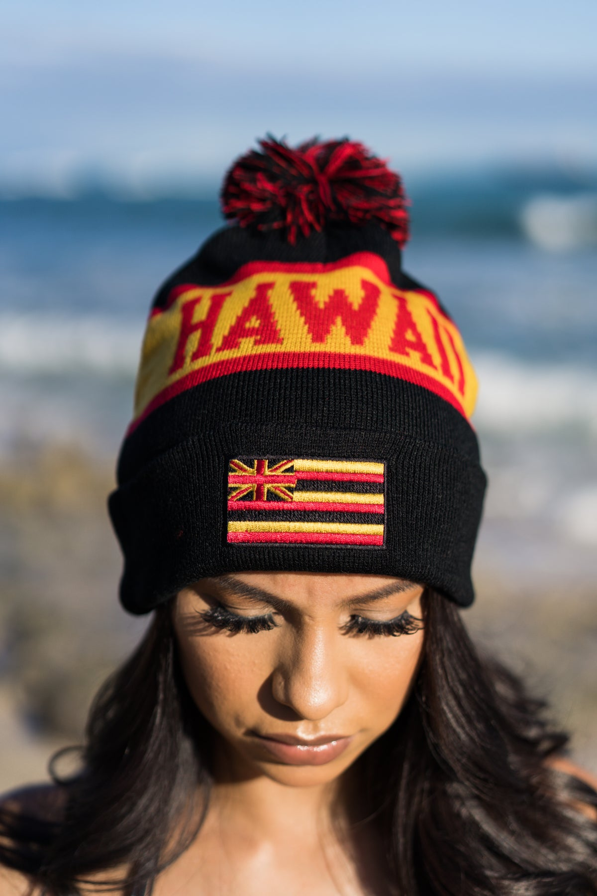 Delight Hawaii - Pom Beanie (Black/Red/Yellow)
