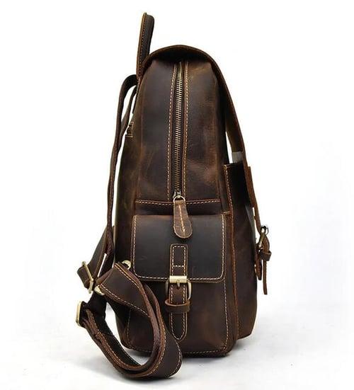 Image of Vintage Leather Backpack, Travel Backpack, Men Rucksack MSG8056