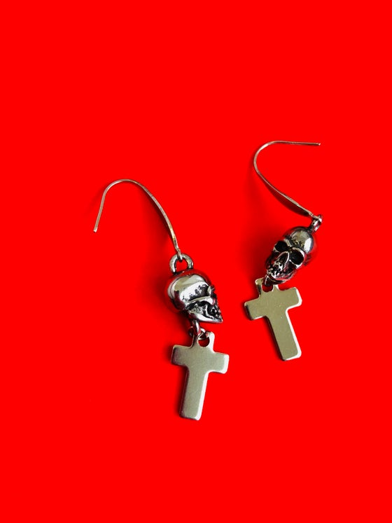 Image of SKULLS & CROSSES DROP EARRINGS