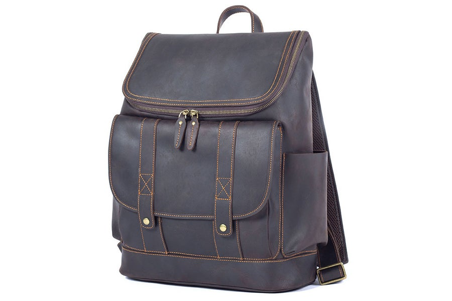 Image of Vintage Leather Backpack, Travel Backpack, Laptop Rucksack LF260