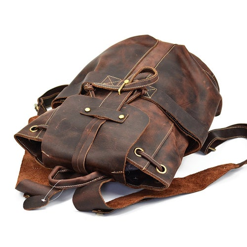 Image of Vintage Handmade Man Backpack Leather Laptop Backpack LF9109